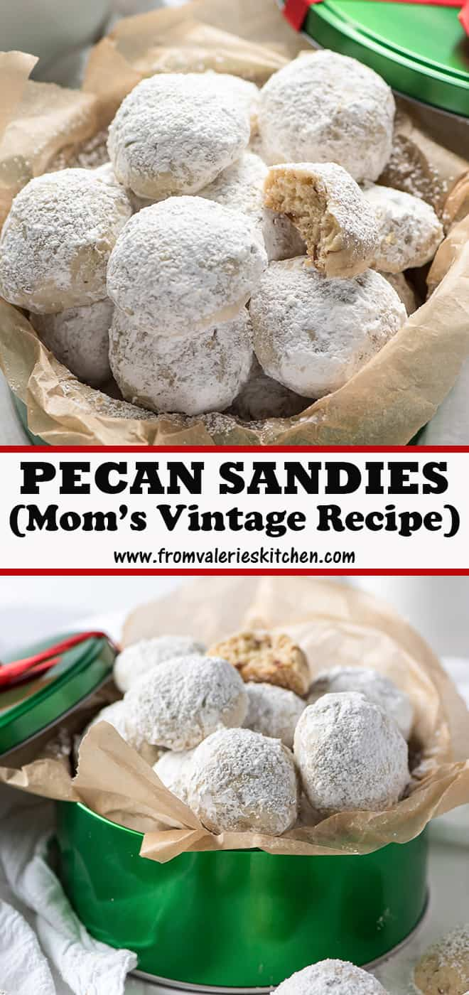 A two image vertical collage of Pecan Sandies with overlay text.