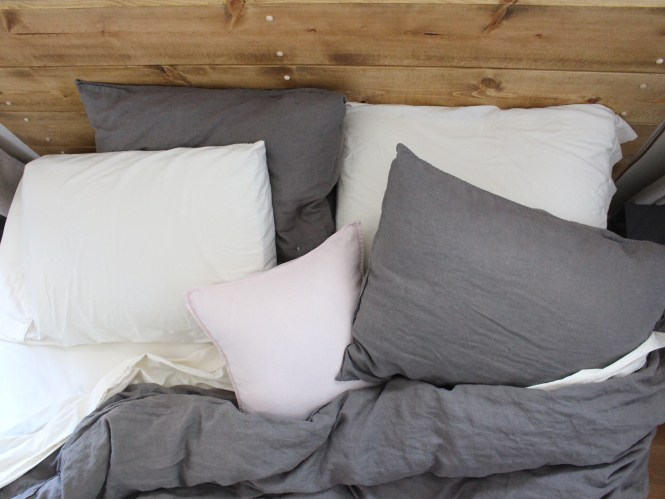 Linen bedding, dark gray, blush, cream, cozy bedroom DIY wooden headboard