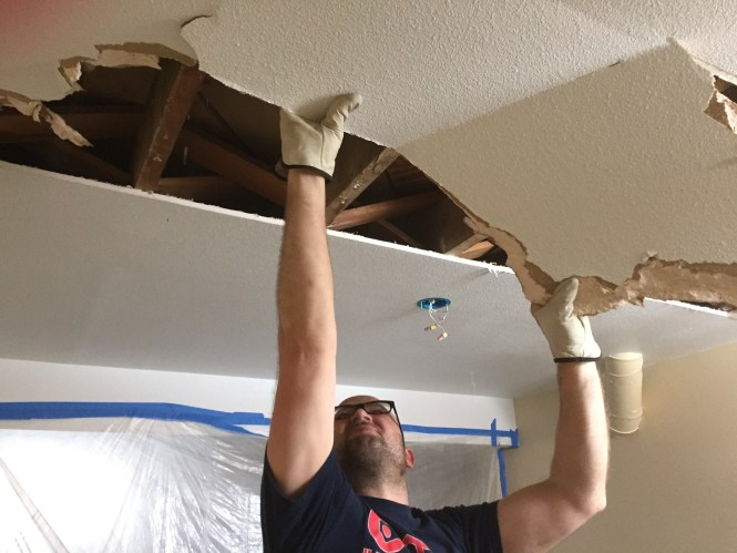 Jesse tearing down ceiling