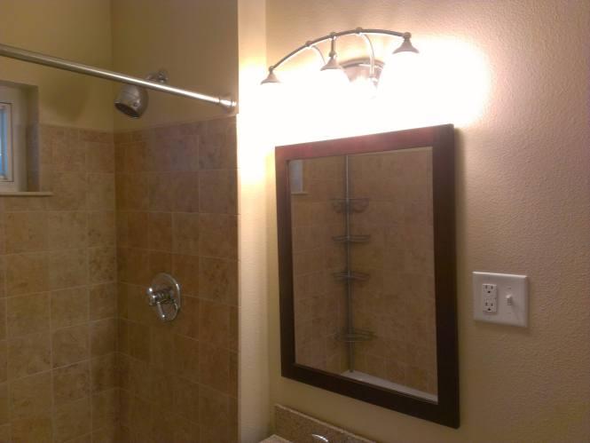 Beige mini-master bathroom vanity lights - before