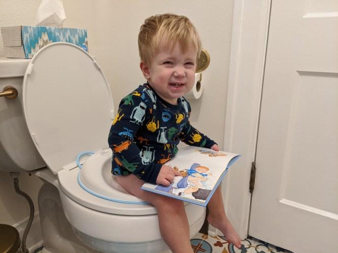 Henry potty training cheesy smile