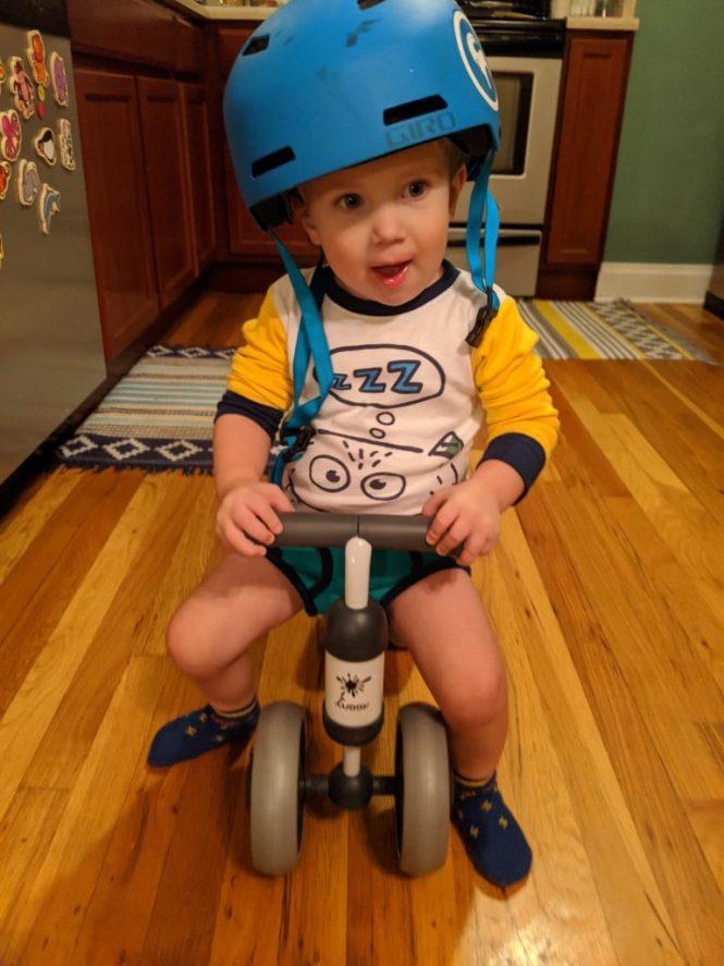 Henry riding bike in underwear
