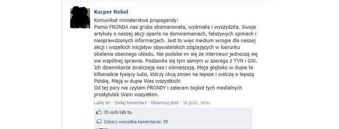 Jak organizatorzy manifestacji 23 marca Frondę.pl szantażowali