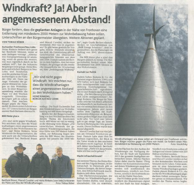Windkraft Zeitungsartikel