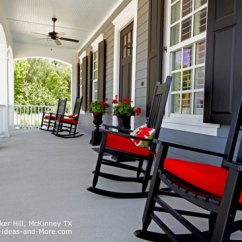 Black Rocking Chairs Chair Covers Vs Chiavari Porch Pictures Rockers With Red Cushions