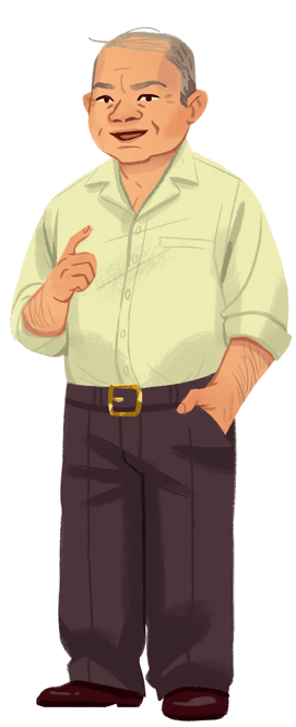 A grey haired man with light skin in a white shirt and black pants