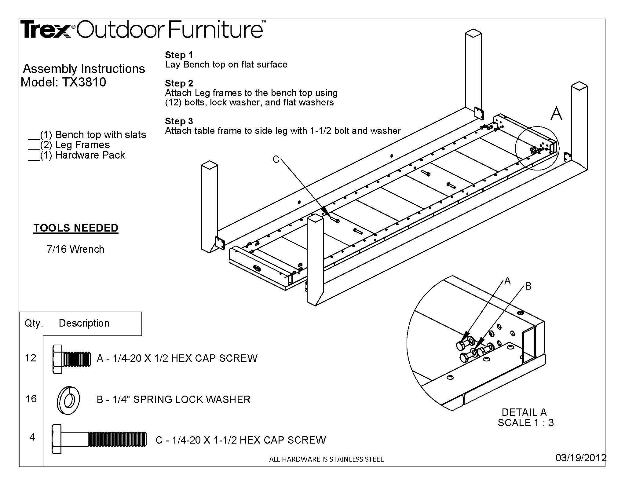 Trex® Outdoor Furniture™ Surf City 68 Bench