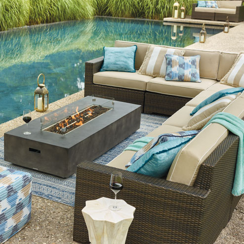 sunbrella sofa cushions pipe set luxury outdoor furniture - patio | frontgate