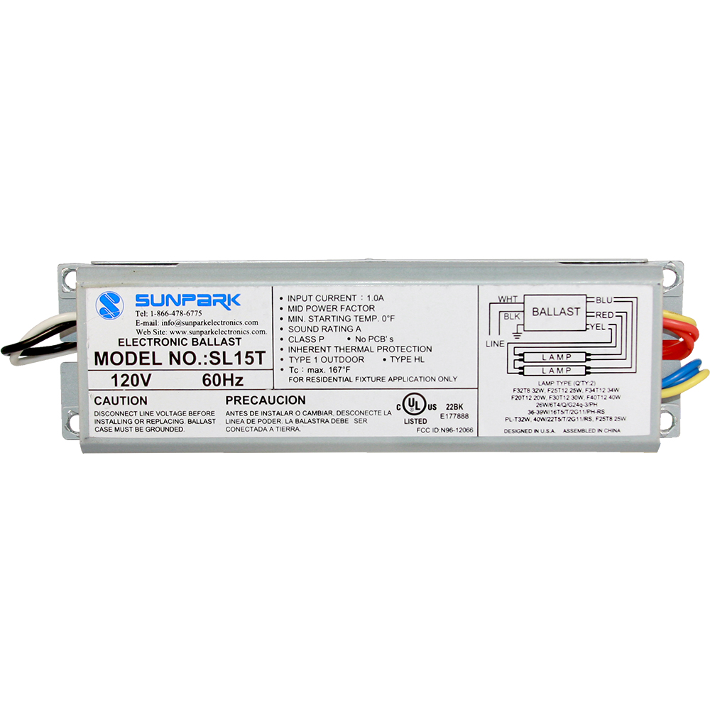medium resolution of sl15t sunpark replacement ballast electronic fluorescent ballast for multiple cfl and linear fluorescent lamps