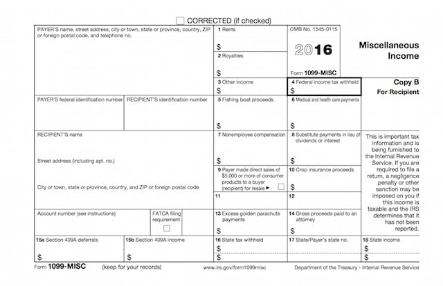 Sample Form 1099 Misc 2016 Frontier Sound FX