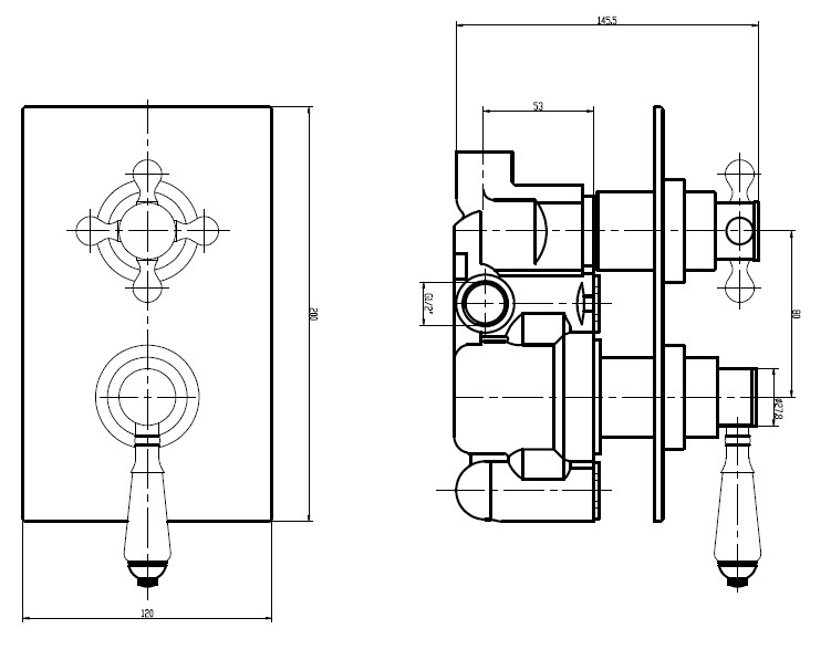 Edwardian Square Concealed Thermostatic 1-Way Shower Valve