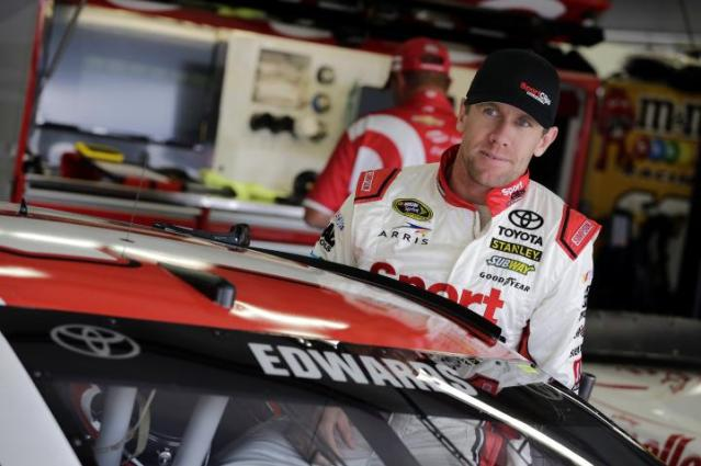Carl Edwards in the garage during Sprint Cup practice at New Hampshire Motor Speedway