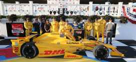 Ryan Hunter-Reay enjoying the win at Pocono in the IndyCar series (credit: Chris Jones)