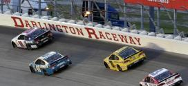 NASCAR Sprint Cup Cars circle Darlinton Raceway under caution in the 2015 Bojangles' Southern 500