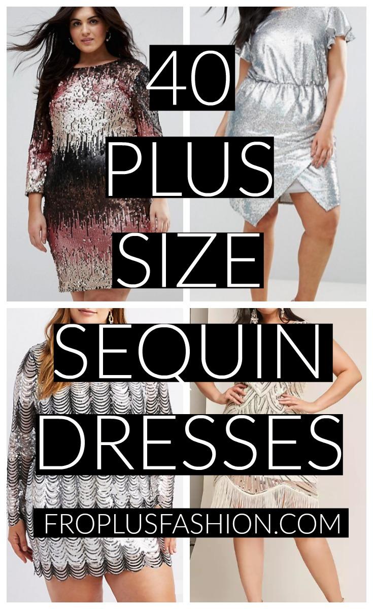Plus Size Sequin Dresses Pinterest Image