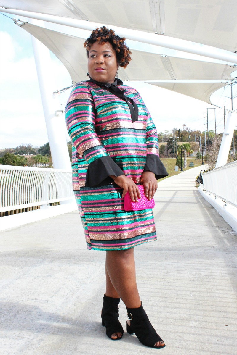 Eloquii Striped Sequin Dress with Collar