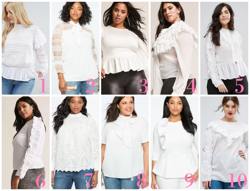 Plus Size White Tops with Jeans