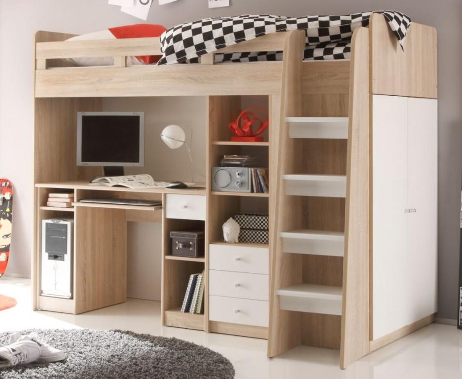 Multifunktionsbett UNIT Etagenbett Kinderbett Bett Kinder Eiche Sonoma Kids  Teens Betten