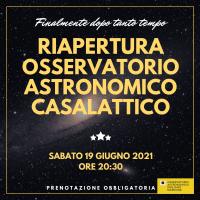 """RIAPERTURA AL PUBBLICO OSSERVATORIO ASTRONOMICO """"EMILIANO NARDONE"""" CASALATTICO."""