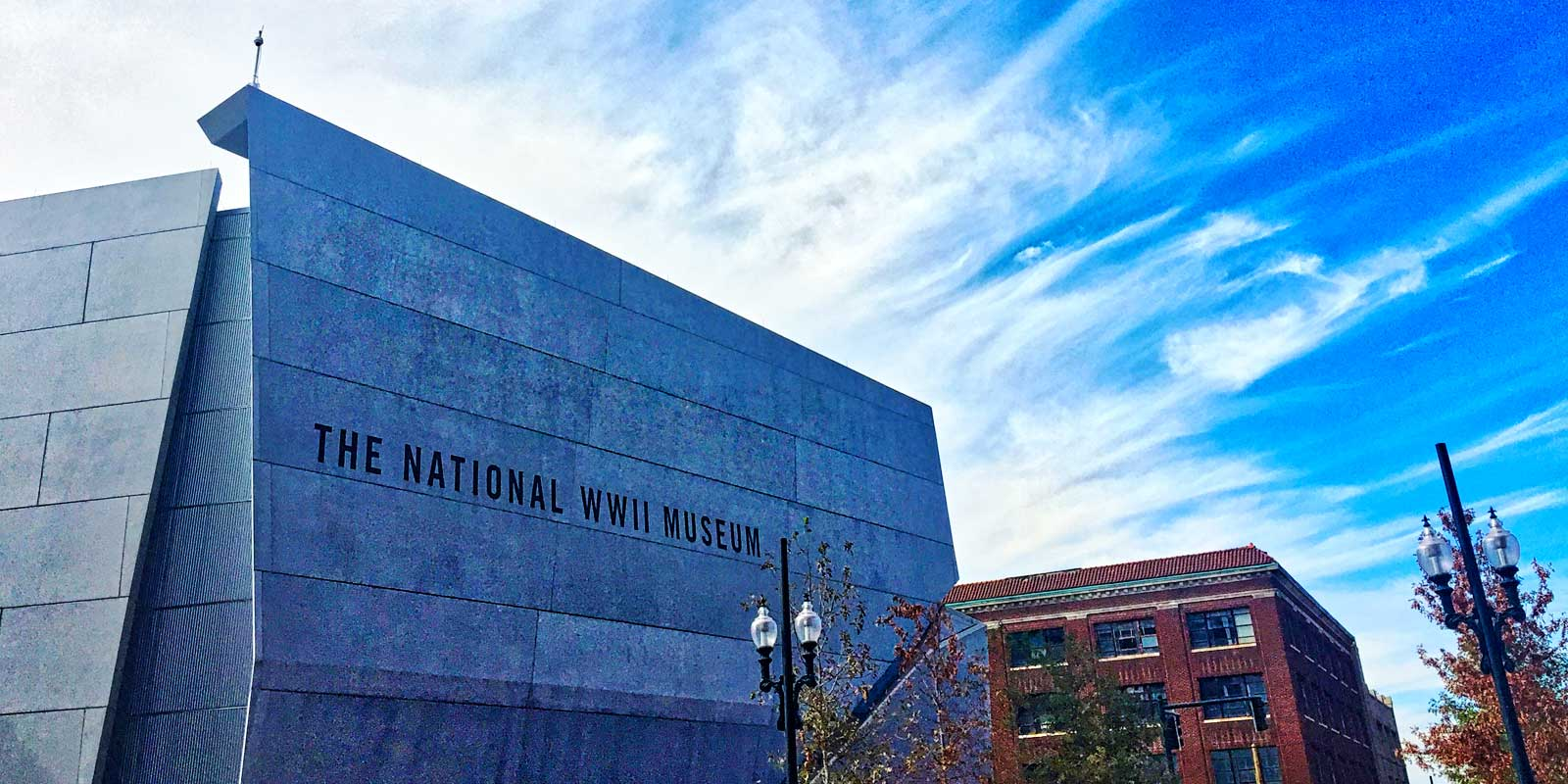 Shot of the main building of the National World War II Museum in New Orleans' Arts District.