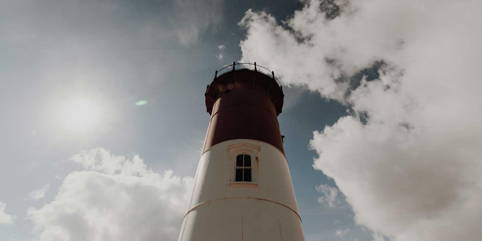 Upward angle of a lighthouse in Cape Cod