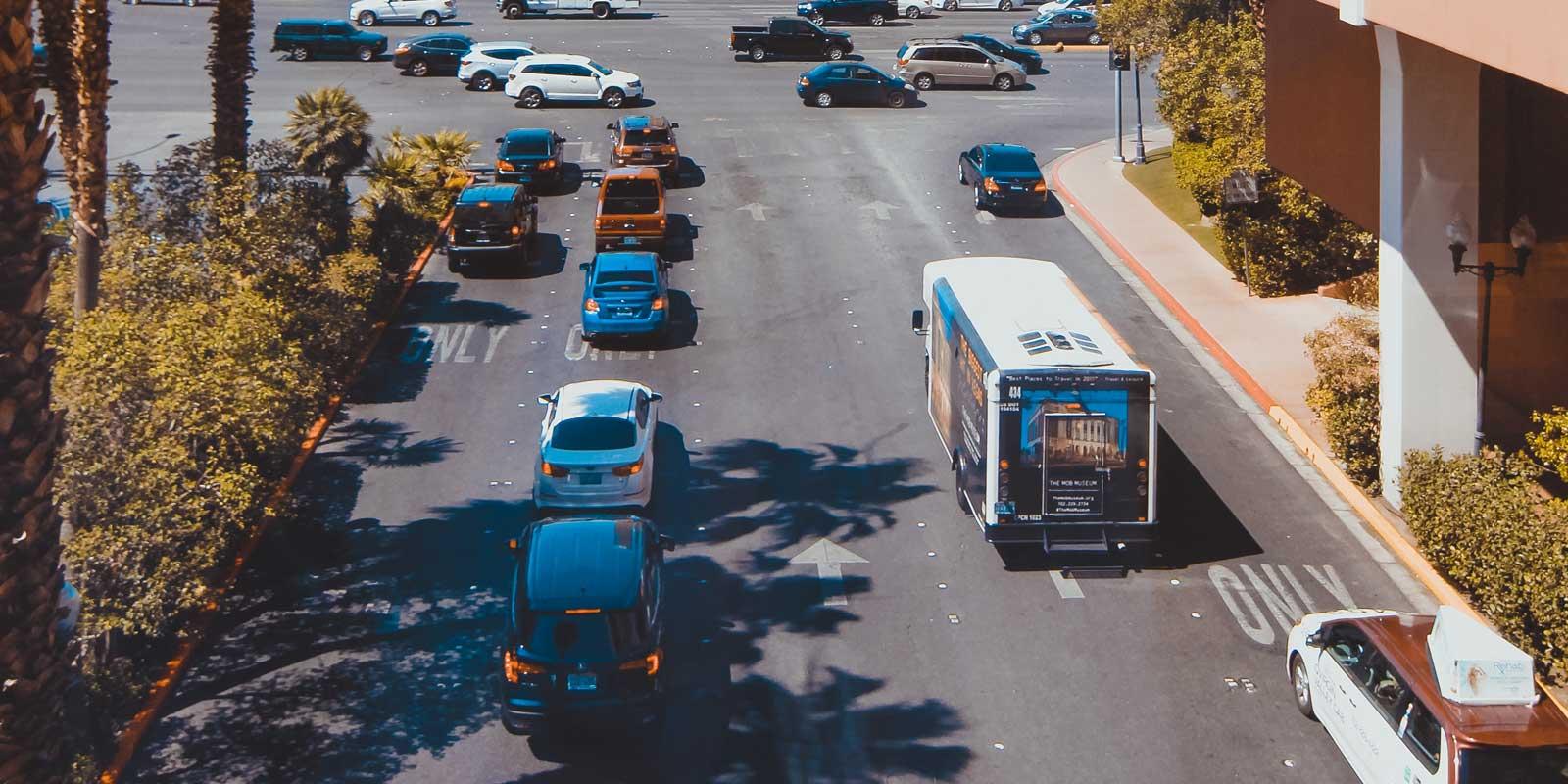Landscape photo of traffic on a street in Las Vegas.