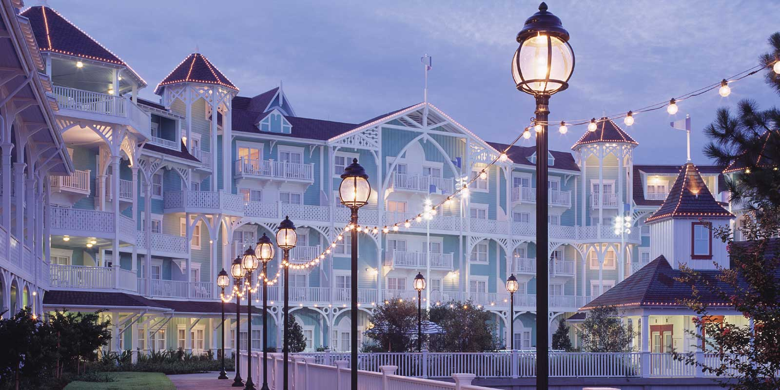 Landscape photo of the Disney Beach Club Villas at Disney World in the early evening.