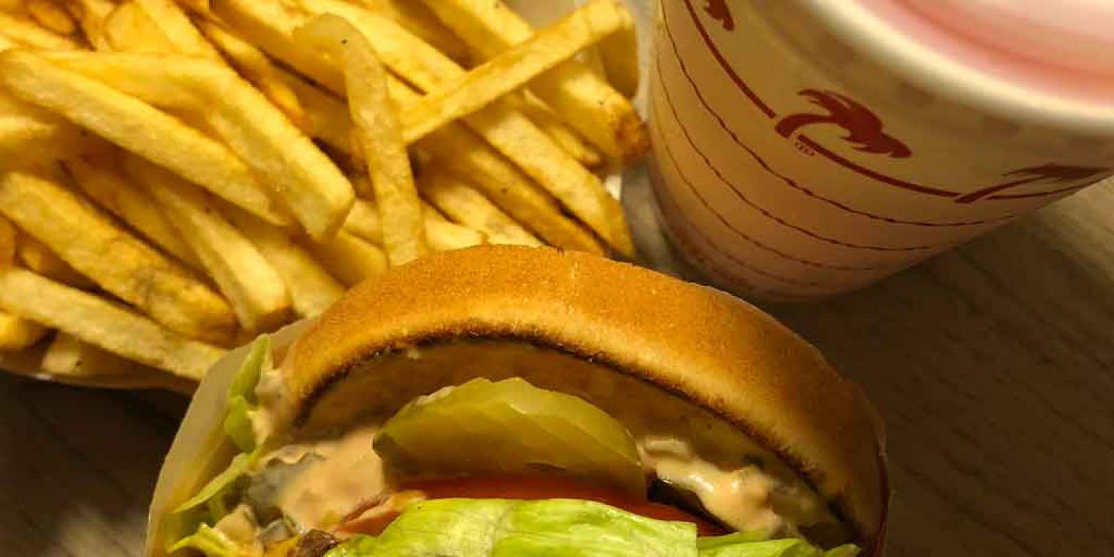 Closeup of a burger, fries, and soft drink from In-n-Out in Las Vegas.