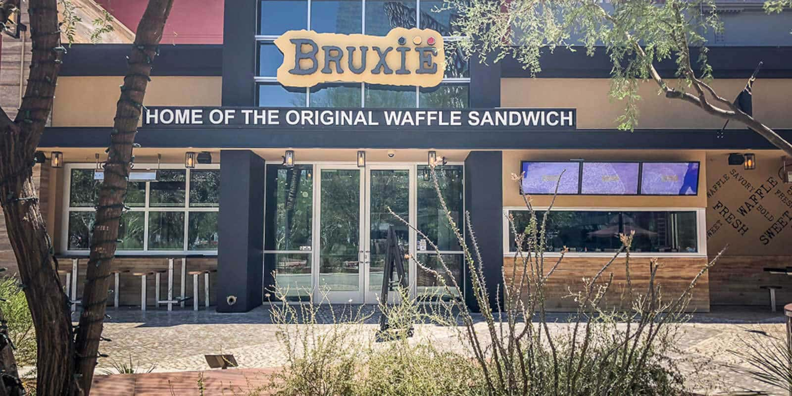 Close up of the outside of Bruxie, a chicken and waffle spot.