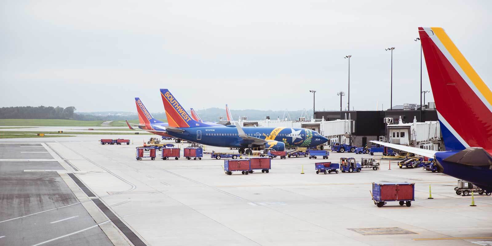 Photo of Southwest Airlines planes outside an airport.