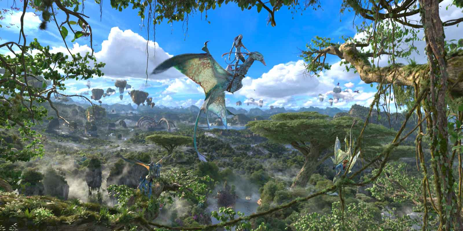 Scene from the 3-D virtual reality ride, Avatar Flight of Passage, at Animal Kingdom.
