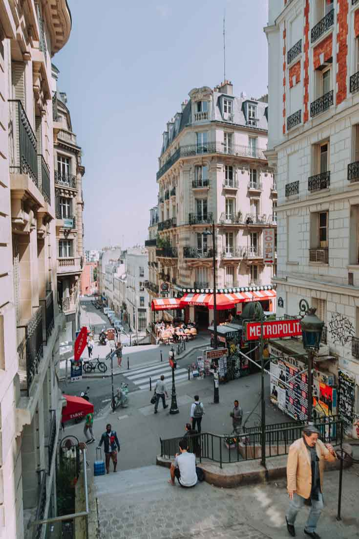 Portrait view of a Parisian neighborhood with a Metro station in the background.