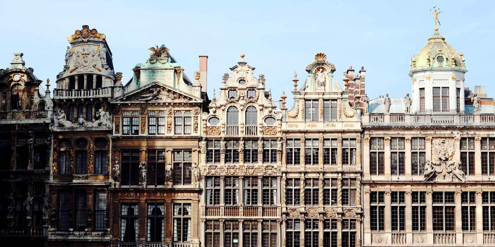 Landscape view of ornate buildings in Brussels, Belgium.