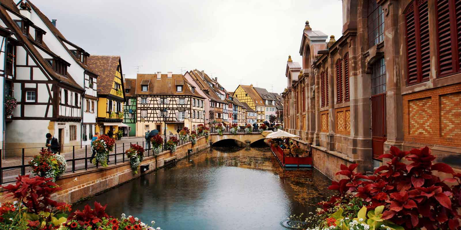 Landscape view of Colmar, France and its colorful fairytale like buildings.