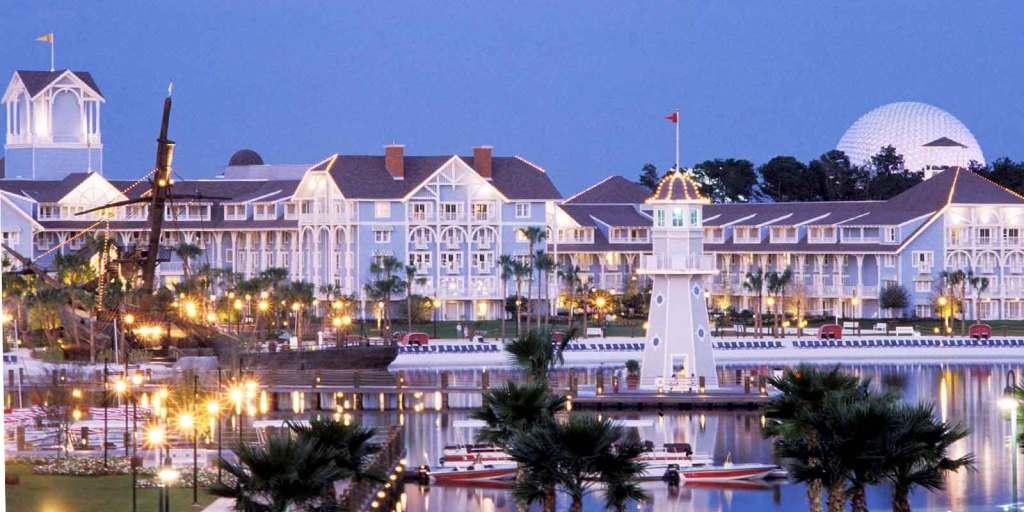 Landscape photograph of Disney's Beach Club Resort, nearby Epcot theme park.