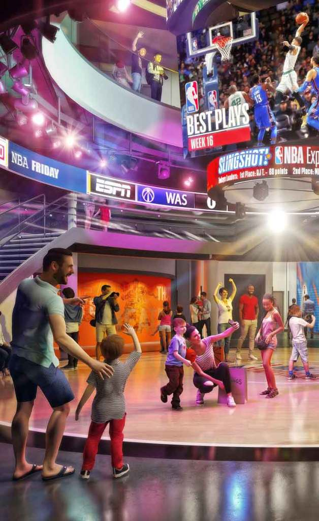Concept art for the NBA Experience at Disney Springs. The scene shows several families at the entrance taking selfies and expressing awe at a basketball video.