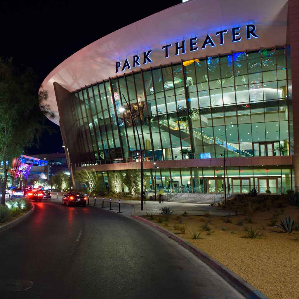 Photograph of the outside of the MGM Park Theater at night.