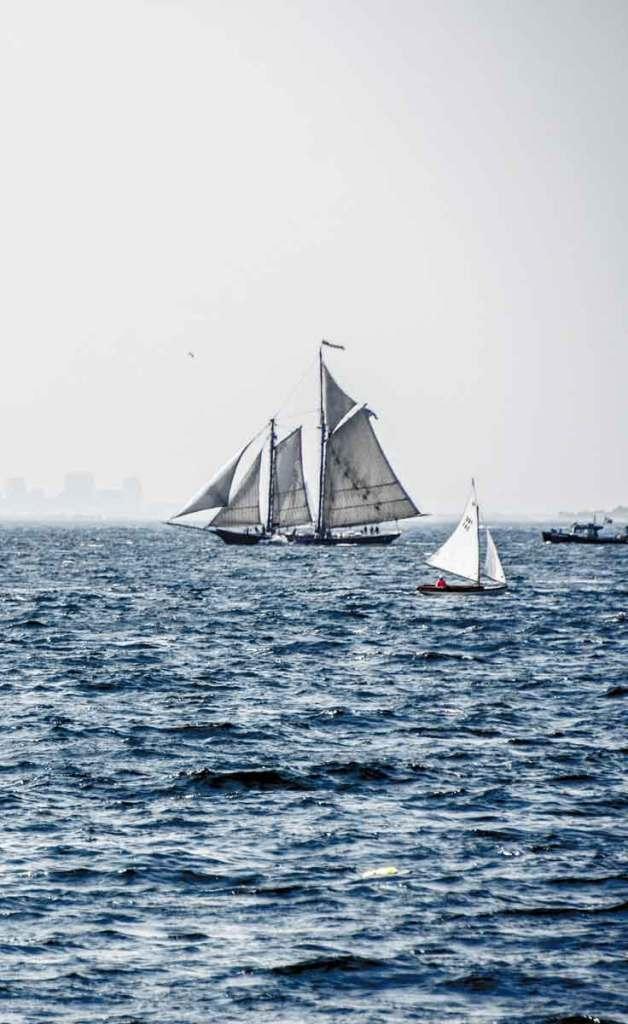 Sailboats off the coast of Gloucester, Massachusetts.