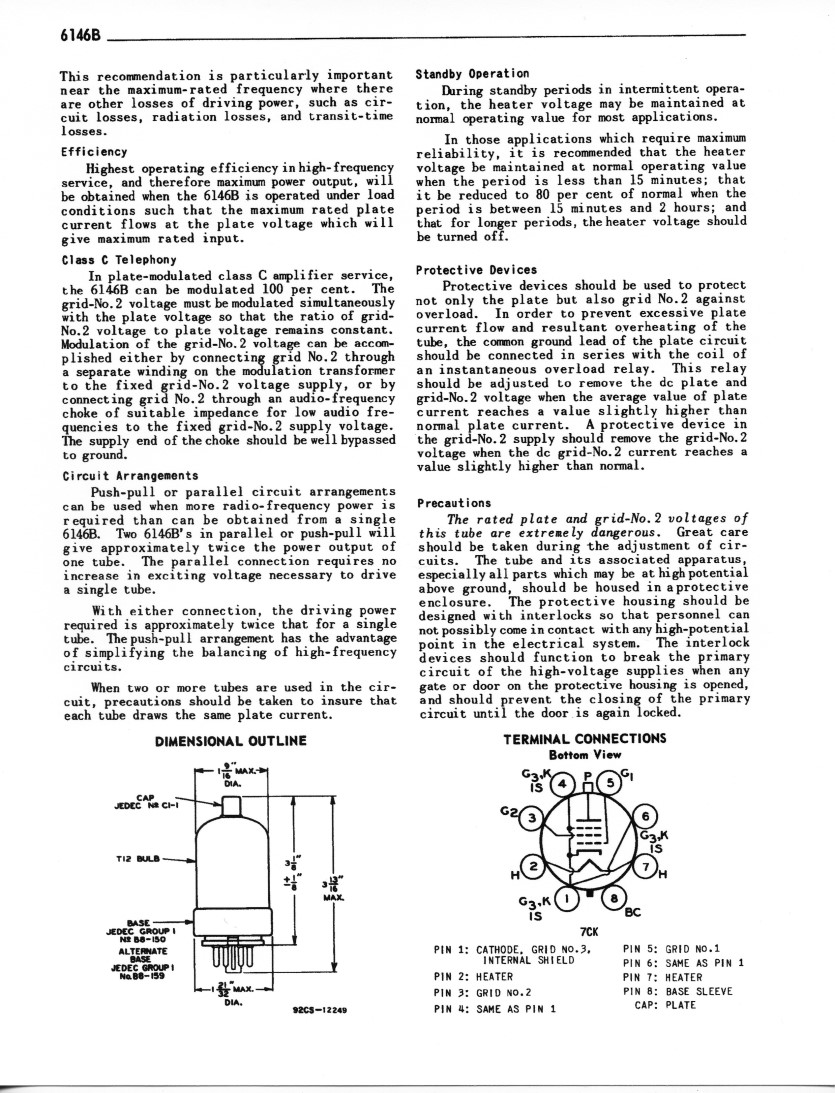 hight resolution of  miscellaneous information tube outline and basing diagram