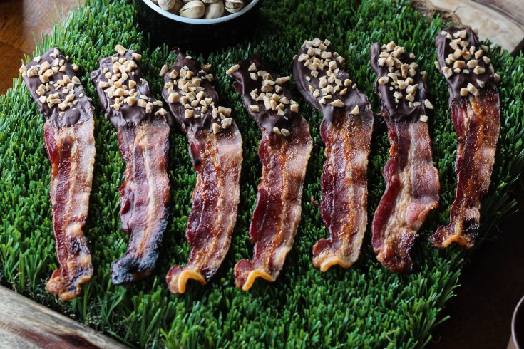 candied bacon, super bowl, super bowl recipe, chocolate bacon, bacon recipe
