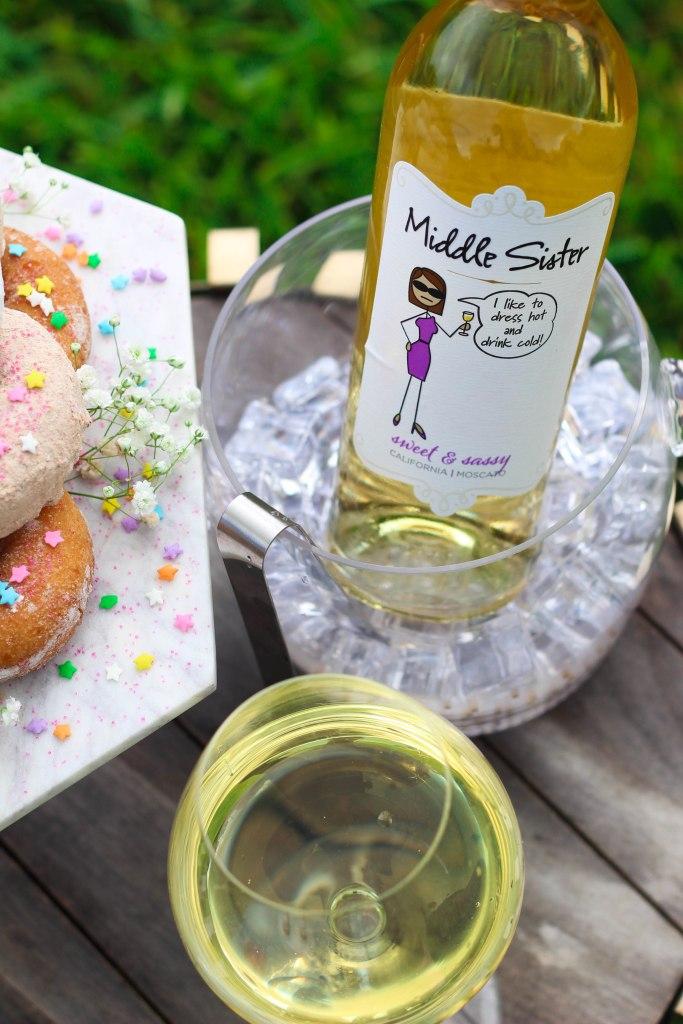 Backyard Bestie Birthday Party, Donut Tower, Middle Sister Wine
