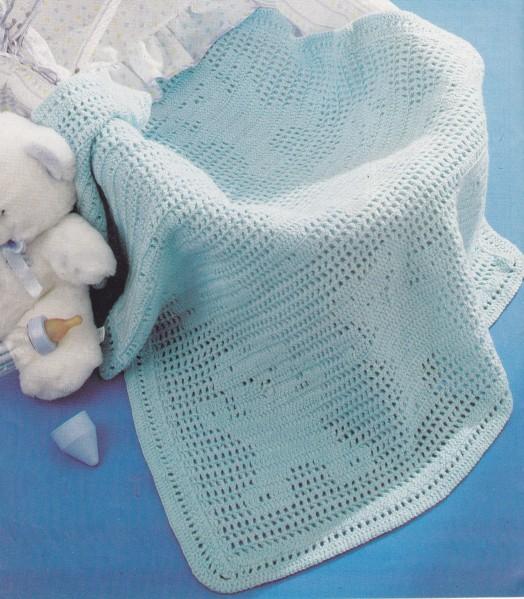 Crochet Couverture Berceau Oursons Bleus Tutoriel