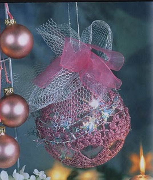 CROCHET : boule de Noël rose TUTORIEL GRATUIT