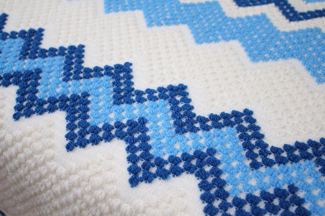 Wit blauwe gebreide vintage plaid  sprei  Froufrous