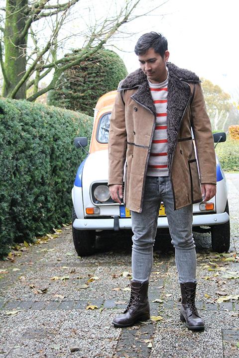 Bruine lammy coat heren SM  Froufrous