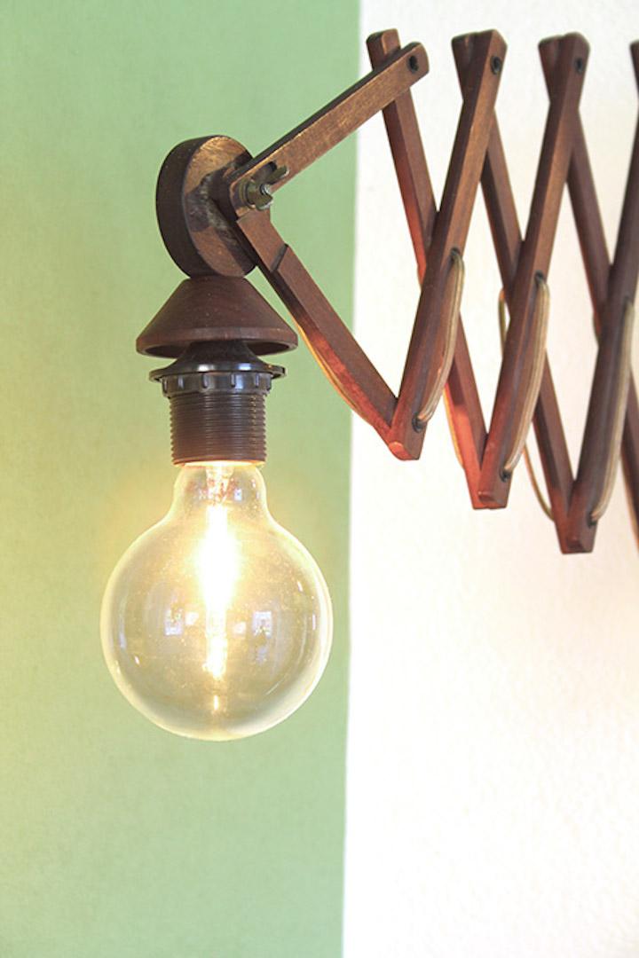 Vintage houten schaarlamp groot  Froufrous