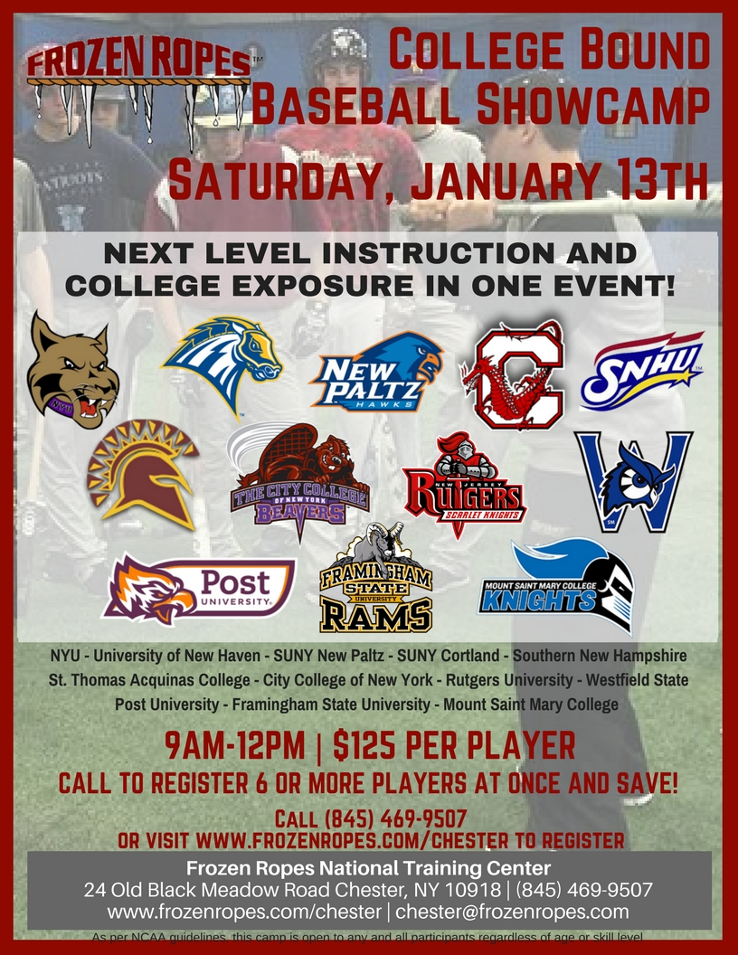 Frozen Ropes College Bound Winter Baseball Showcamp Next Level Instruction College Exposure