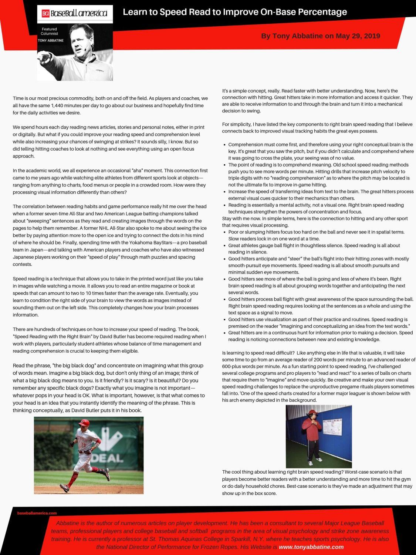 Tony Abbatine, Baseball America, Learn to Speed Read