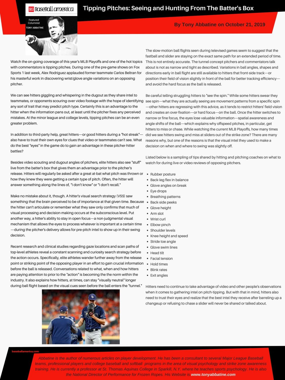 Tony Abbatine Baseball America bi-weekly column
