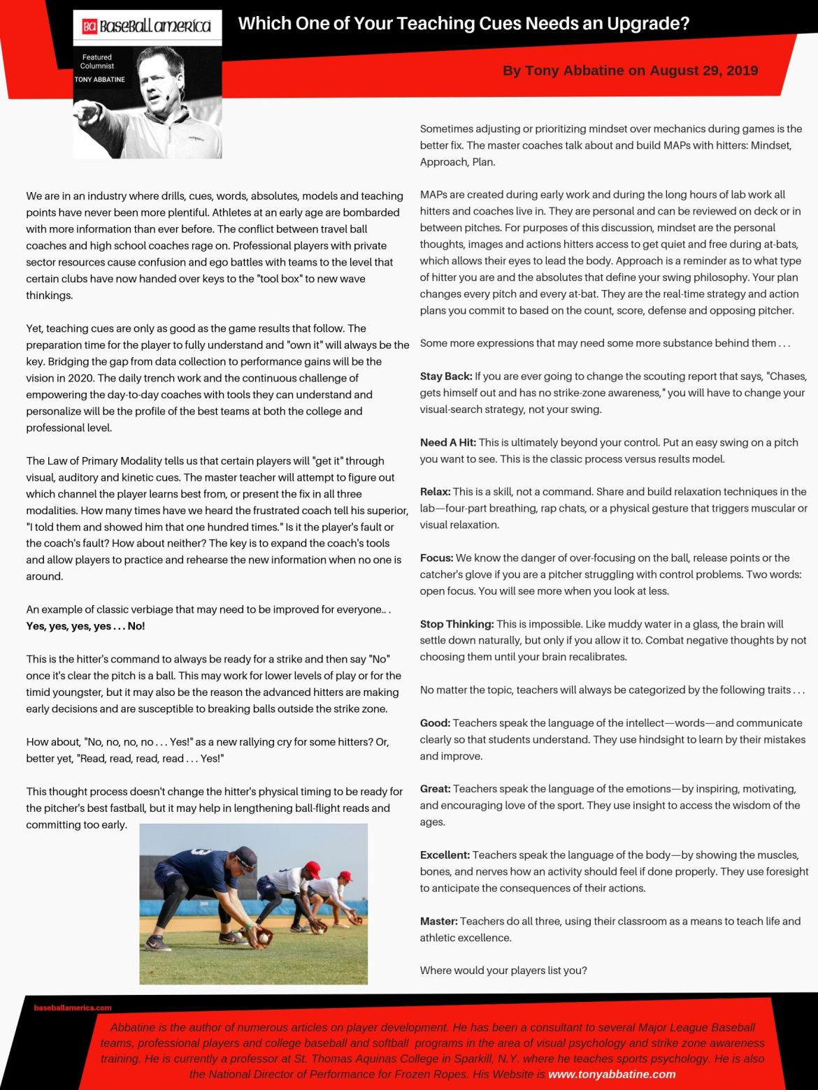Tony Abbatine bi-weekly column in Baseball America: Upgrade to Teaching Cues